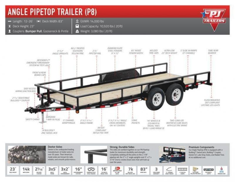 ****CLEARANCE***83x16 PJ Angle Pipetop Equipment Trailer-Fold Up Ramps