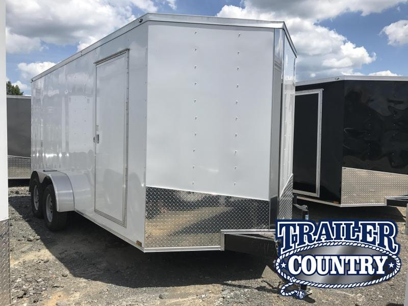 "7x16 Enclosed Cargo Trailer-6'6"" Height-Ramp Door-White"