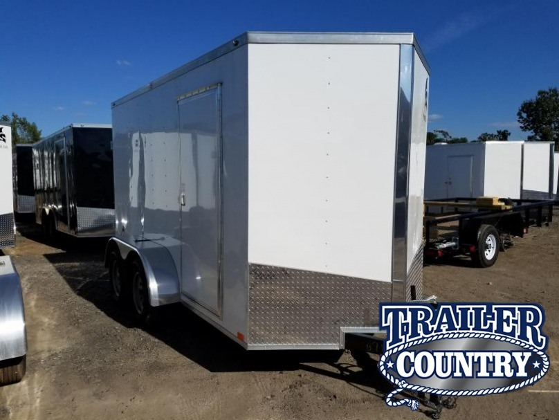 "6x12 Enclosed Cargo Trailer-Double Doors-White-6'6"" Height"