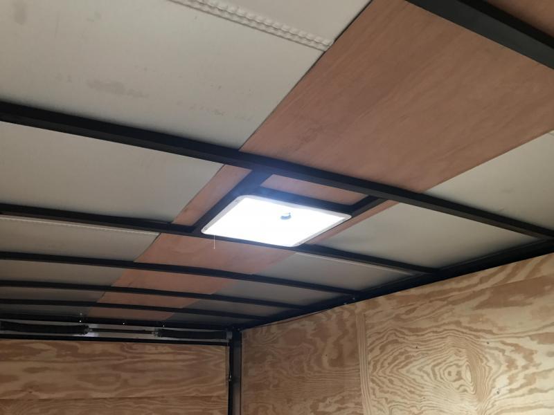 7x14 Enclosed Cargo Trailer-Ramp-Black-7' Height