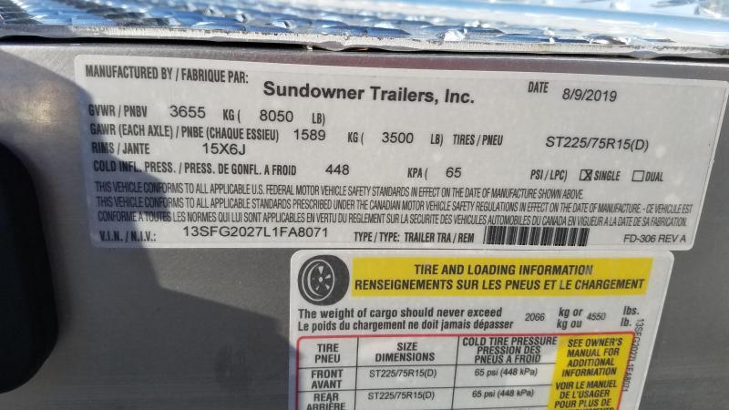 2020 Sundowner Trailers 8X20 TA Car / Racing Trailer
