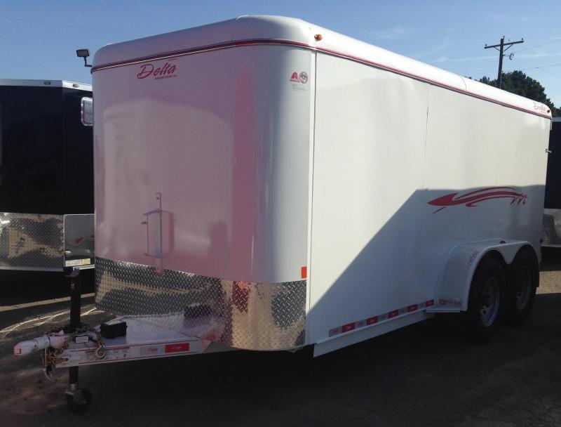 """6'8""""x16' Steel Enclosed Cargo Trailer-Double Doors"""