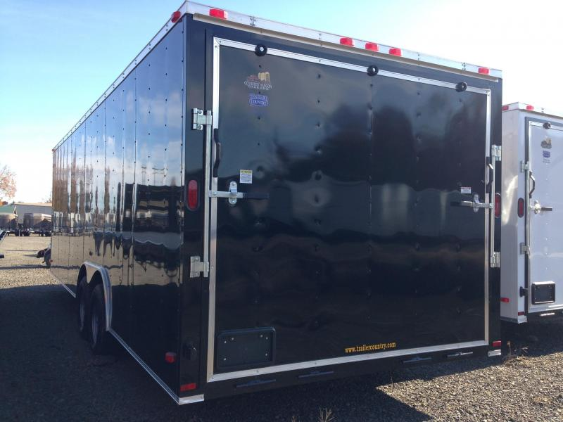 8.5x24 Enclosed Car Hauler Trailer-Black-Ramp Door-CLEARANCE