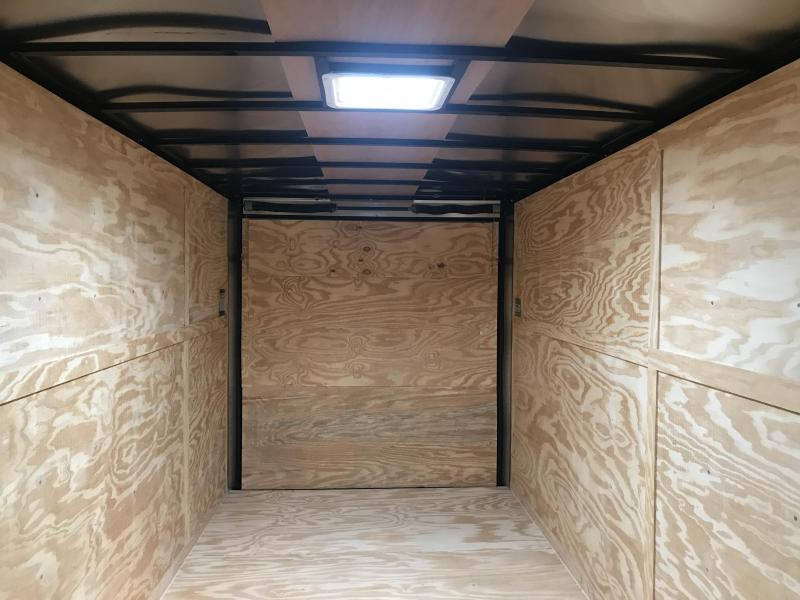 7x16 Enclosed Cargo Trailer-7' Height-Charcoal-Ramp