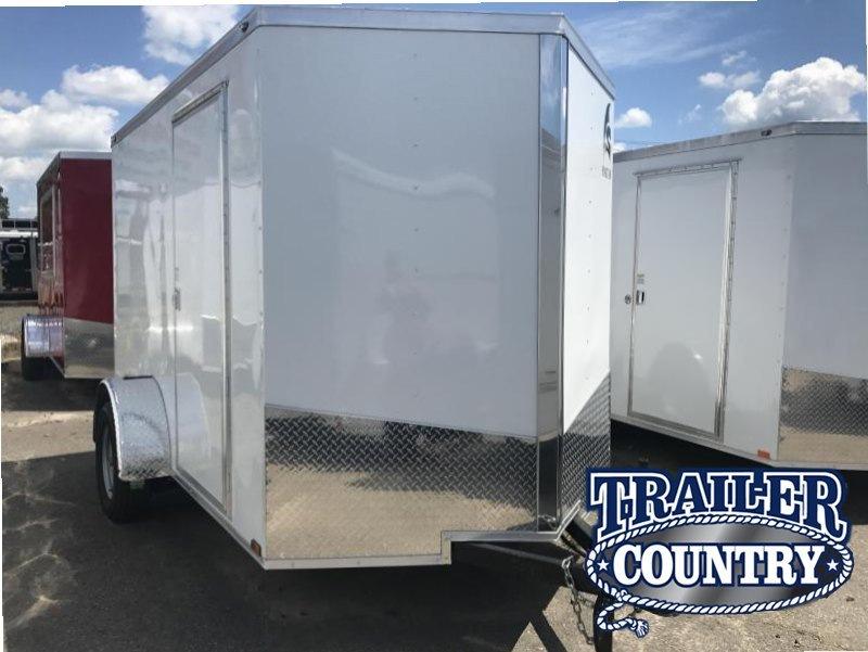 6x10 Enclosed Cargo Trailer-R& Door-White & 6x10 Enclosed Cargo Trailer-Ramp Door-White | Trailer Country ...