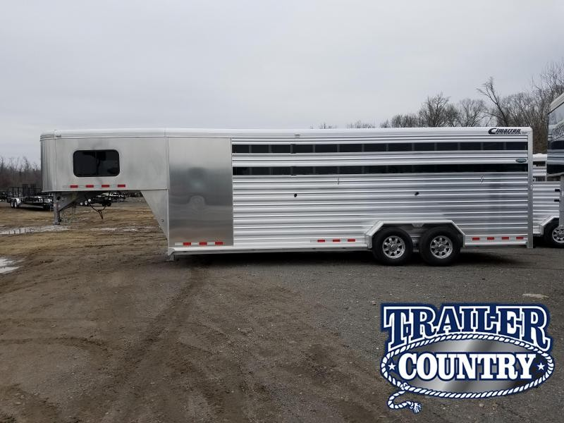 2018 Cimarron Trailers Lonestar 24 Stock with Front Tack Livestock Trailer