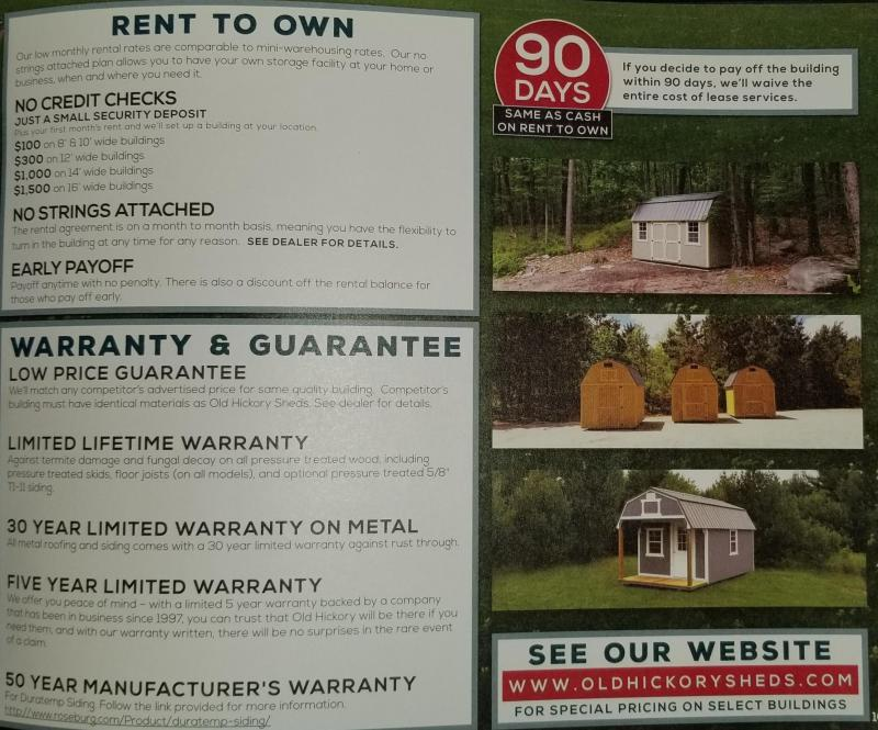 2018 Old Hickory WLBX 8 X 12 lofted barn shed