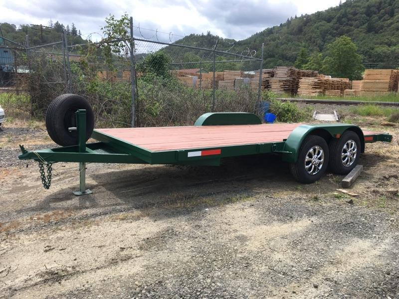 1987 RACE Green 7x16 Utility Flatbed Trailer