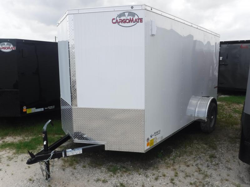 2018 Cargo Mate 6x12 12ft E-V White Double Door Enclosed Cargo Trailer