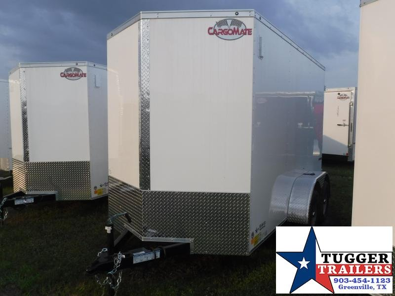 2020 Cargo Mate 6x12 12ft Double Door White Enclosed Cargo Tandem Axle Trailer