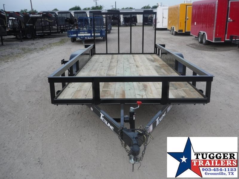 2019 TexLine 77x16 16ft Black Ramp Utility Flatbed Trailer