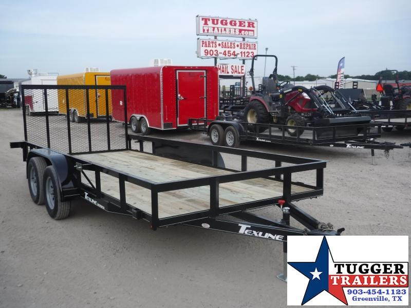 2019 TexLine 77x16 16ft Black Ramp Utility Flatbed Trailer