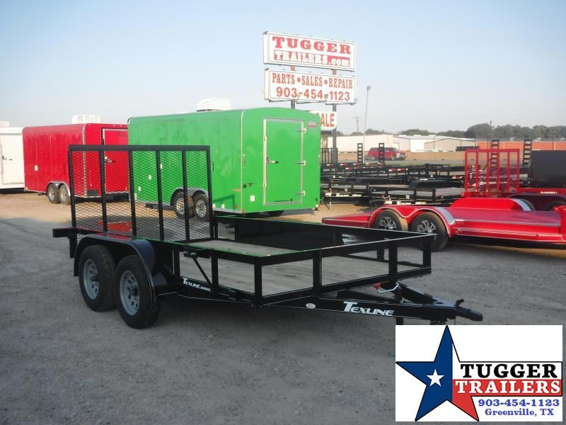 2019 TexLine 77x12 12ft Black Ramp Flatbed Utility Trailer
