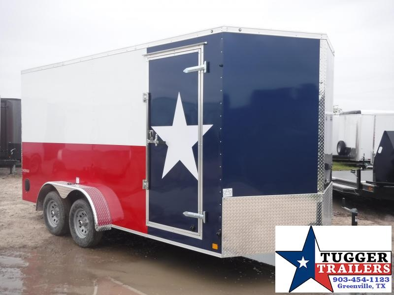 2019 Cargo Mate 7x16 16ft LE Texas Flag Ramp Enclosed Cargo Tandem Axle Trailer