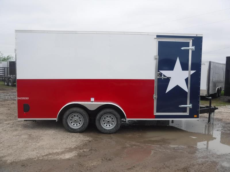 2019 Cargo Mate 7x16 16ft LE Texas Flag Ramp Enclosed Cargo Trailer