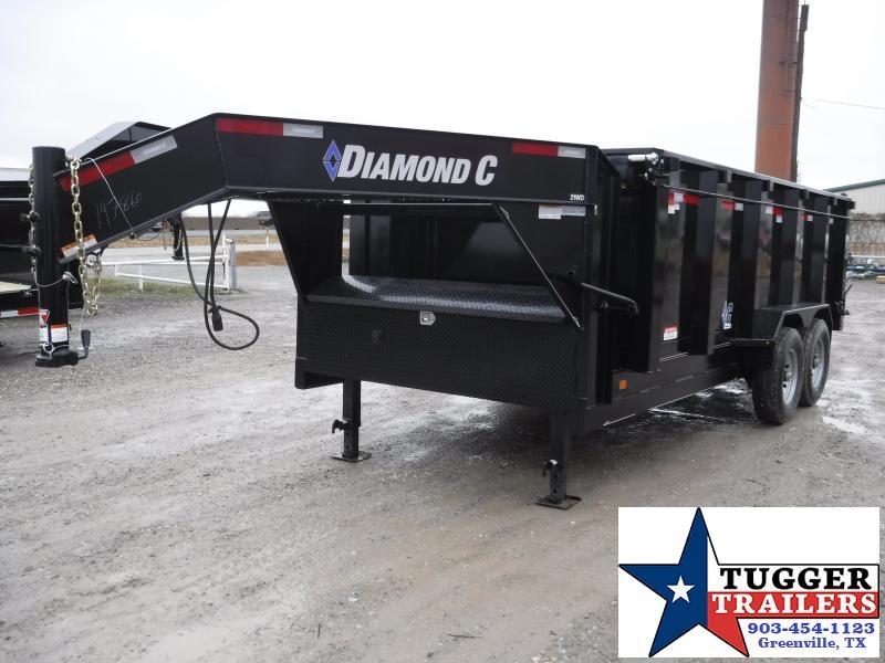 2019 Diamond C Trailers 82X16 16FT Gooseneck Black 2019 21WDL Dump Trailer