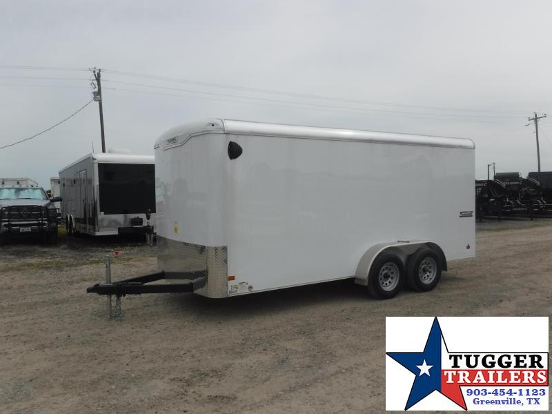 2019 Haulmark 7x16 16ft Transport Ramp White Enclosed Cargo Tandem Axle Trailer