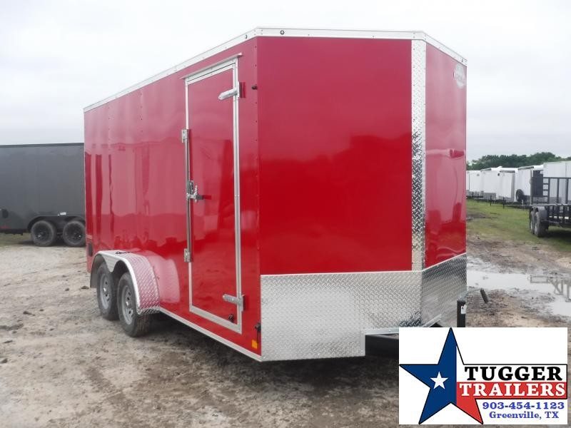 2019 Cargo Mate 7X16 16FT Red Ramp Enclosed Cargo Tandem Axle Trailer