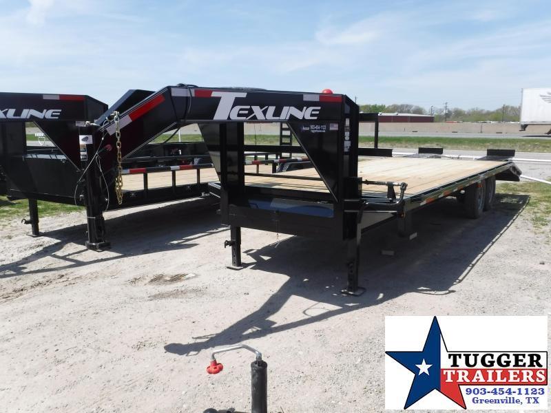 2019 TexLine 102x25 25ft Gooseneck Black 2019 Deckover Flatbed Trailer