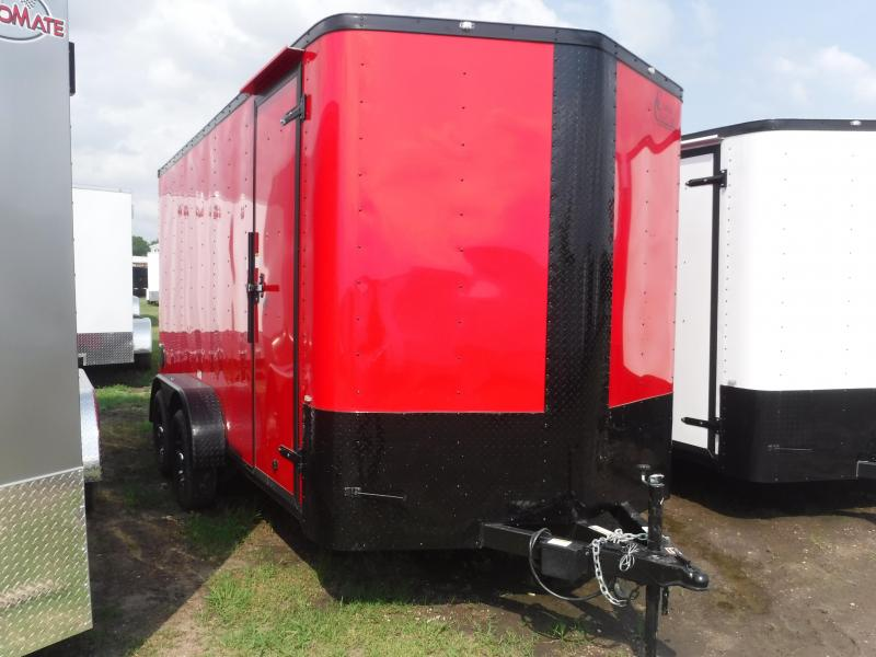 2019 Cargo Craft 7X14 14ft Red Black Out Ramp Enclosed Cargo Trailer