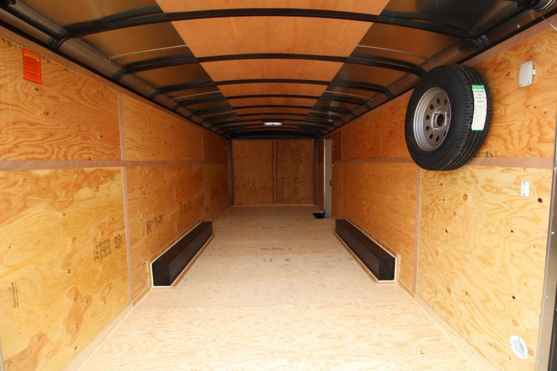 2019 Mirage  Xcel 8.5 x 20 Enclosed Car Hauler Trailer - Round Nose and Round Roof - Spare Tire - Side Vents - Black Exterior Color  - Tandem axle - Round roof - Flat front