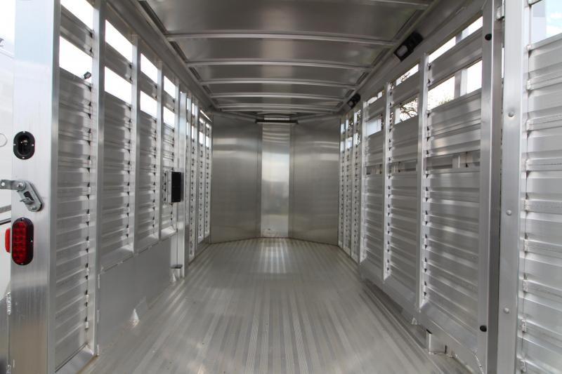 "2018 Exiss STK 713 Livestock Trailer - 13' Floor Length - 7'2"" Tall - All Aluminum - Solid Center Gate - Full Swinging Rear Gate with Slider"