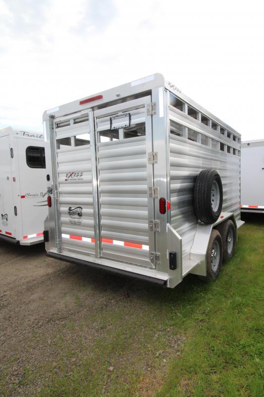 "2018 Exiss STK 713 Livestock Trailer - 13' Floor Length - 7'2"" Tall - All Aluminum - Solid Center Gate - Full Swinging Rear Gate with Slider - PRICE REDUCED"