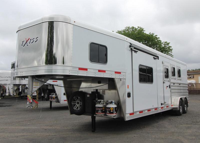 "2019 Exiss Trailers Escape 7310 - 10'6""sw Living Quarters w/ Slide 3 Horse Trailer - All Aluminum"