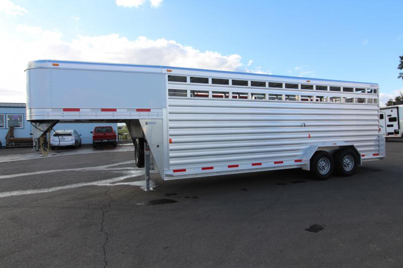 "2019 Exiss 7022 All Aluminum 22' Livestock Trailer - with Escape Door on Curbside - EXTRA TALL 7'2"" Tall - Solid Center Gate - Rear Gate with Slider"