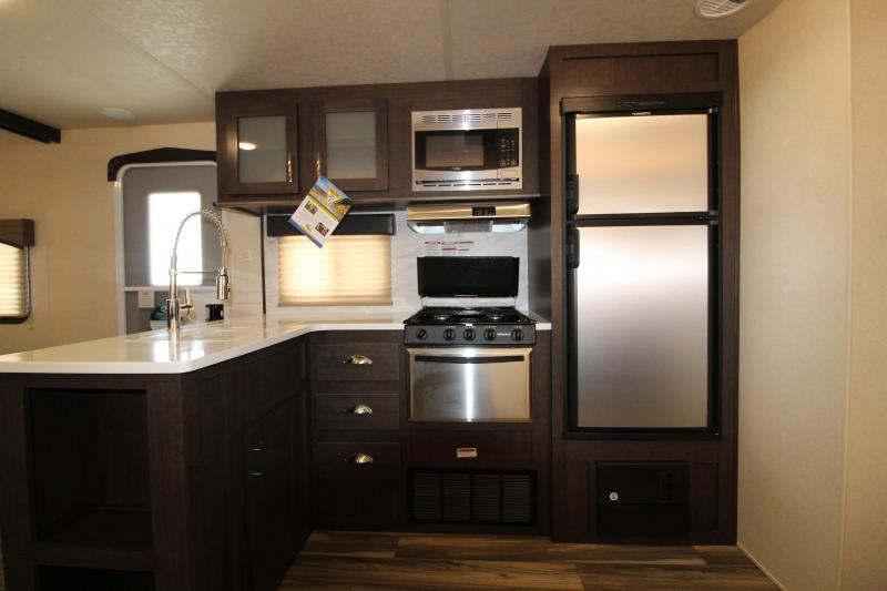 2018 Forest River EVO 2990 Travel Trailer - NEW Floorplan! Sleeps 8! - Outside Kitchen - Dinette and Sofa in Slide Out - 3 Bunk Beds! Silver Birch Interior Decor - PRICE REDUCED BY $2200
