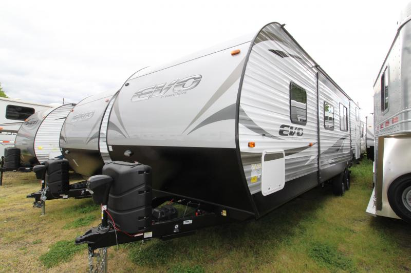 2018 Forest River EVO 2990 Travel Trailer - NEW Floorplan! Sleeps 8! - Outside Kitchen - Dinette and Sofa in Slide Out - 3 Bunk Beds! Silver Birch Interior Decor - PRELIMINARY PICS