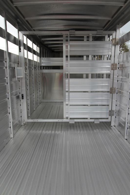 2018 Featherlite 8117 16 ft. Stock Trailer - All Aluminum w/ Center Gate & Slider Rear Gate