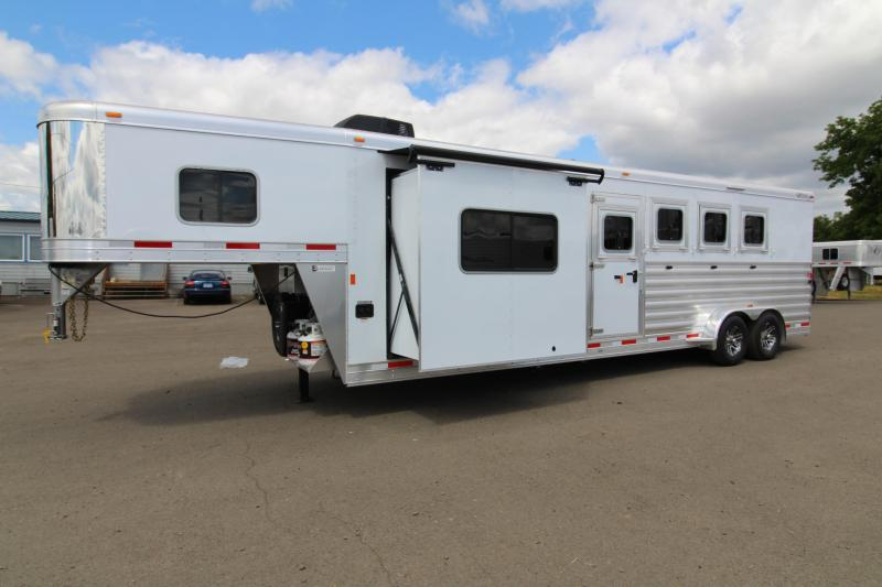 """2018 Exiss 7410 10' SW LQ  with Slide Out - 4 Horse All Aluminum Trailer - 7'8"""" Tall - Power Awning - Aluminum Wheels - Easy Care Flooring"""