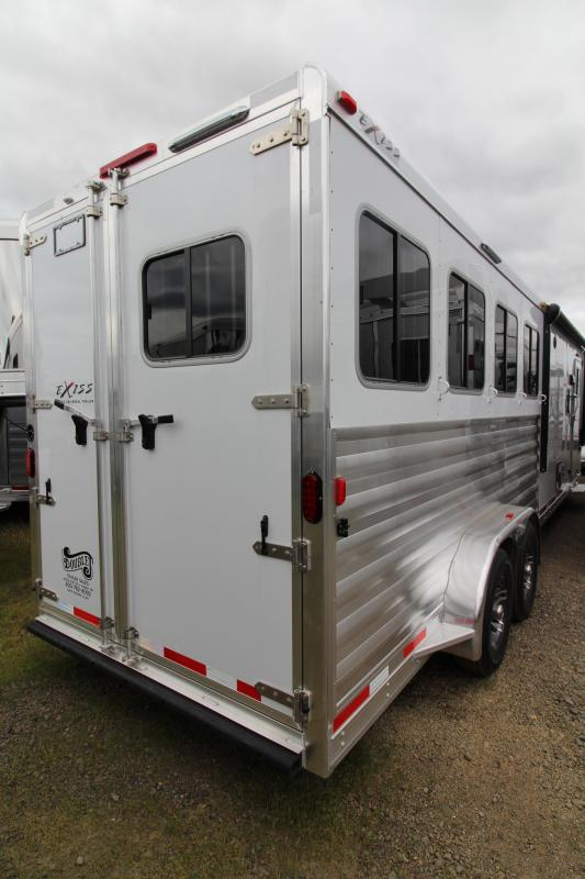 "2018 Exiss 7410 10' SW LQ  with Slide Out - 4 Horse All Aluminum Trailer - 7'8"" Tall - Power Awning - Aluminum Wheels - Easy Care Flooring - PRELIMINARY PHOTOS"