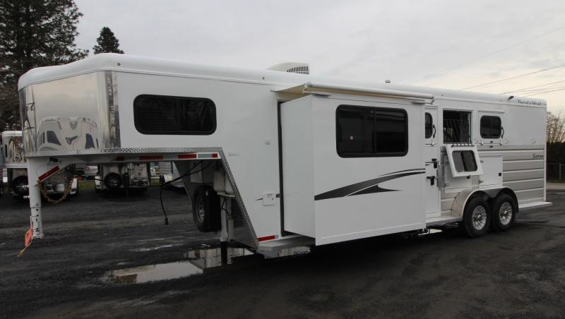 2019 Trails West Sierra 8x13 Living Quarters w/ Slide out 3 Horse Trailer