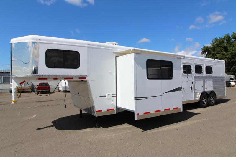 2019 Trails West  Sierra 13 x 13 w/ Slide Out 3 Horse Trailer - Side Tack - Mangers - 8 Cubic Ft Refrigerator - Escape Door - 8' Wide 7'6