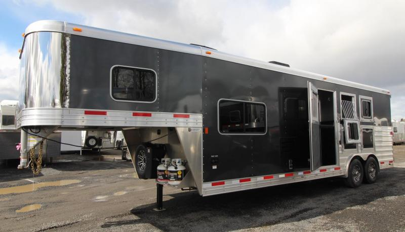 "2019 Exiss Endeavor 8310 - 10ft SW Living Quarters 3 Horse Trailer - Black Exterior Color - Sofa - 8' Wide 7'8"" Tall"