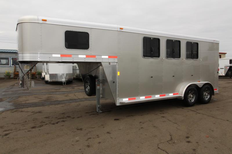2018 Exiss Trailers Express SS 3 Horse Trailer - All Aluminum - Easy Care Flooring - Champagne Exterior