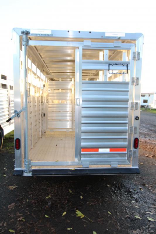 2018 Featherlite 8117 20 ft. Stock Trailer - All Aluminum w/ Center Gate & Slider Rear Gate - Drop Wall Air Vents