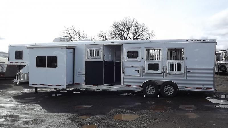 "2017 Featherlite 9821 Liberty Legend 13' SW 8' Wide 7'6"" Tall - Slide Out - Dinette - Easy Care Flooring - Power Awning - Lots of Upgrades Incl. Oven - PRICE REDUCED $7800- 4 Horse Trailer"