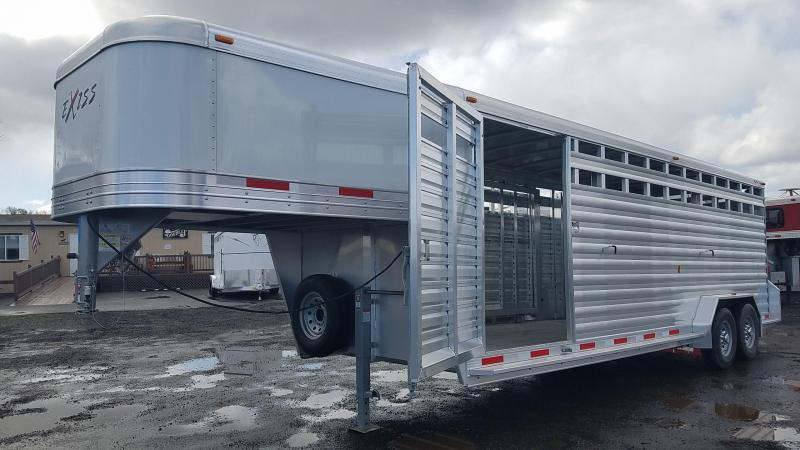 "2017 Exiss STK 7024 -All Alumium - 7' 2"" Tall - Slider In Center Gate 24' Livestock Trailer PRICE REDUCED"