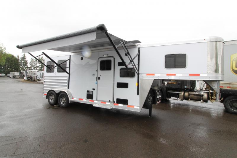 2019 Exiss 7208 - 2 Horse Trailer - 8' LQ SW - Sofa - Upgraded Interior - Chestnut Hickory Interior Decor