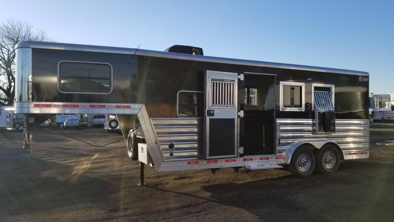 2016 Kiefer Custom 7.5' Short Wall Living Quarters LIKE NEW - 3 Horse Trailer - Sierra Interior - Lined and insulated horse area - Ramp and MORE!!