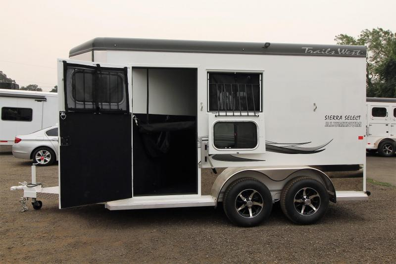 "2018 Trails West Sierra Select 7' 6"" Tall - Seamless Aluminum Vacuum bonded walls and roof - 2 Horse Trailer with escape door"