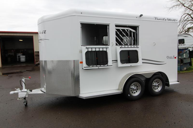 "2018 Trails West Classic - Aluminum skin steel frame - Aluminum Wheels - 2 Horse Trailer - Extra Tall 7'6"" Tall"