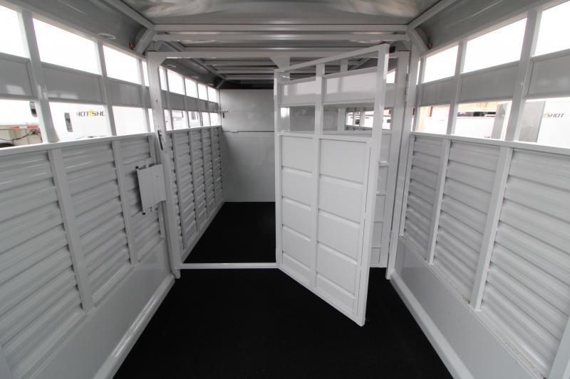 2020 Trails West Hotshot 16' Gooseneck Livestock Trailer - Sort Door in Center Gate - Rear Gate with Slider - LED Load Lights