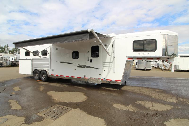 2020 Trails West Sierra 11x15' SW LQ with Slide Out - Side Load 3 Horse Trailer - Hayrack - Gas Gen Ready - Mangers - Easy care flooring - Stud Wall and more!