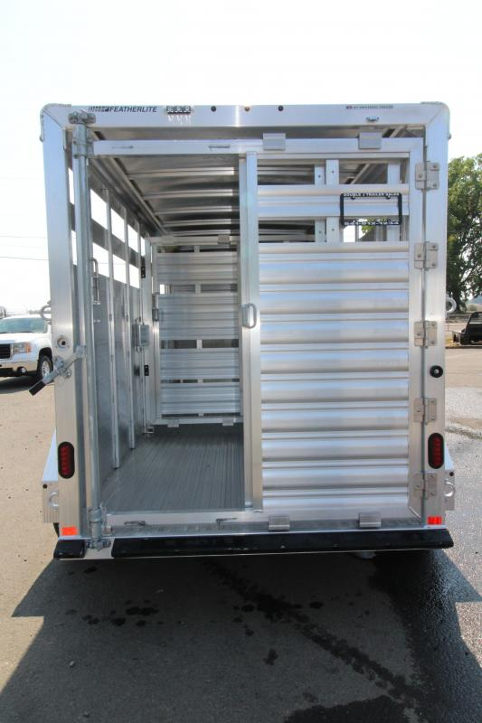 2019 Featherlite 8117 - 16' All Aluminum Livestock Trailer - Center and Rear Gates with Sliders - Rear LED Load Light - 7' Tall