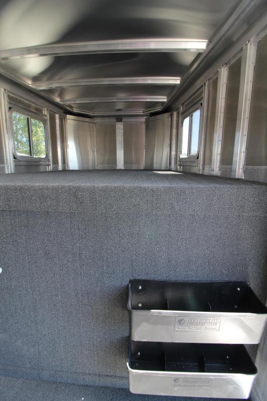 2018 Featherlite 8413-7024 Livestock Trailer - Tack Room Package Escape Door Plexi Turf in Tack Room Center Gate