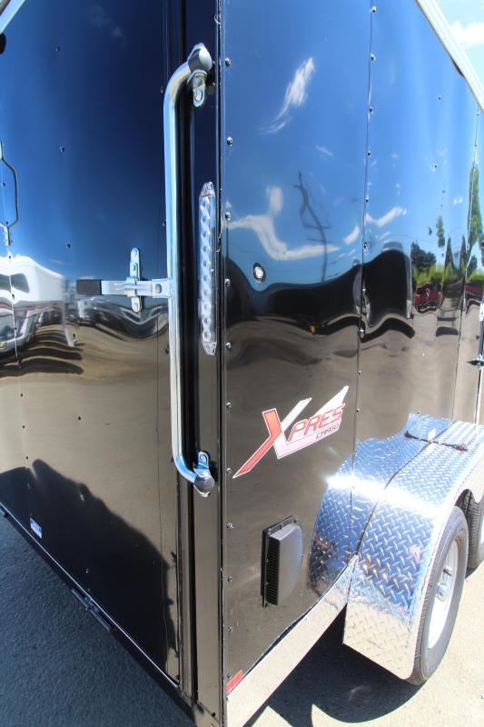 2019 Mirage 7x12 Xpres Enclosed Cargo Trailer - Xtra package - Black exterior - Curbside Mandoor - Rear Ramp Door - V Nose - Flat Roof